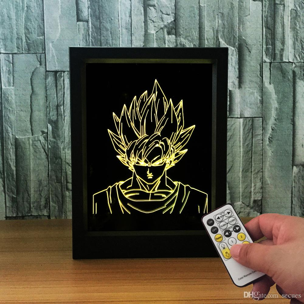 3D Goku LED Photo Frame IR Remote 7 RGB Lights Battery or DC 5V Factory Wholesale Dropship
