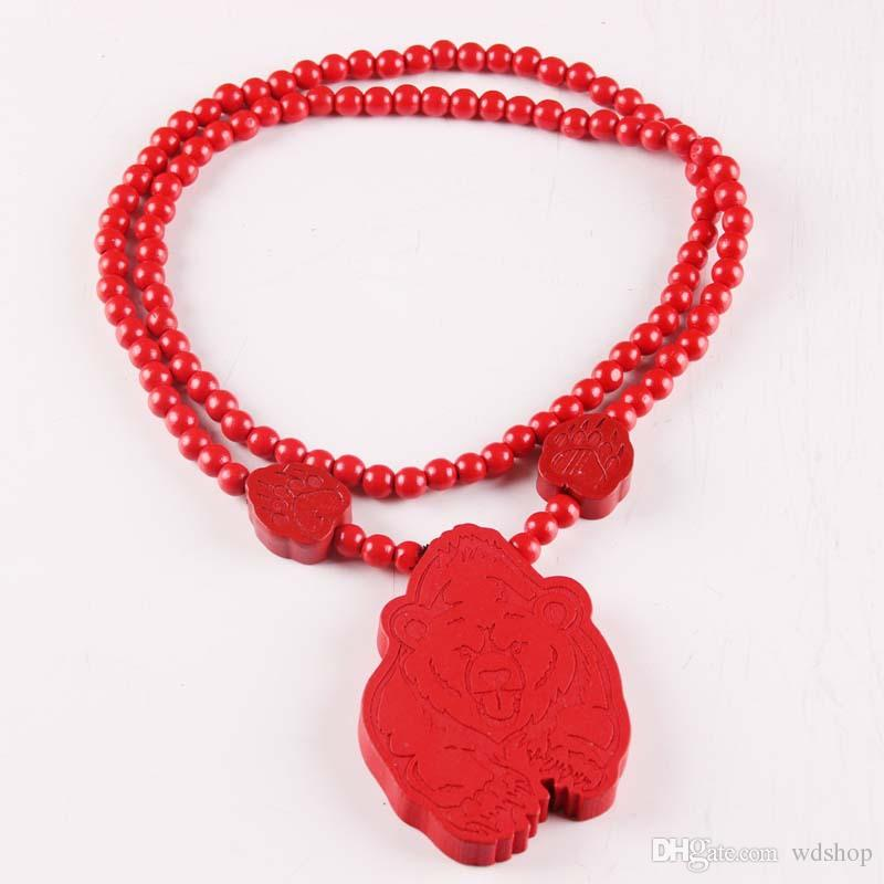 Wooden Cute Bear Pendant Necklace With Laser Engraving Bear Footprints Charm Black Red White Wood Rosary Chain Necklaces