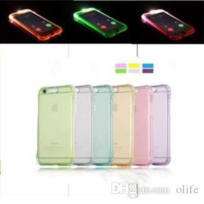 fashion shockproof soft tpu led flash light up case remind incomingfashion shockproof soft tpu led flash light up case remind incoming call clear back cover for iphone 6 7 6s 5s se plus glitter cell phone cases cell phone