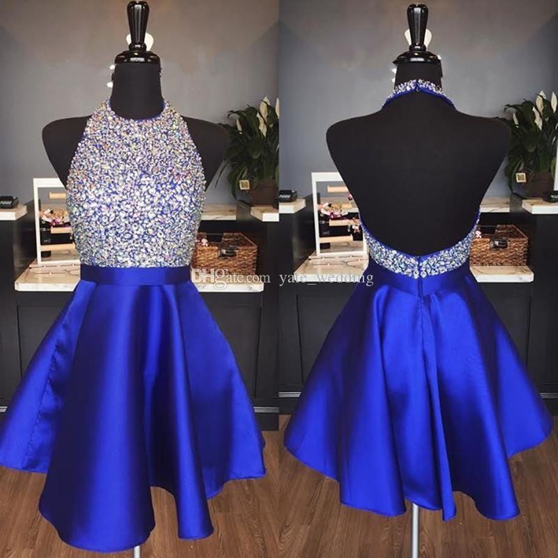 Royal Blue Satin Backless Homecoming Kleider Juwel Halter Pailletten Kristall Backless Short Prom Kleider Sparkly Red Party Kleider
