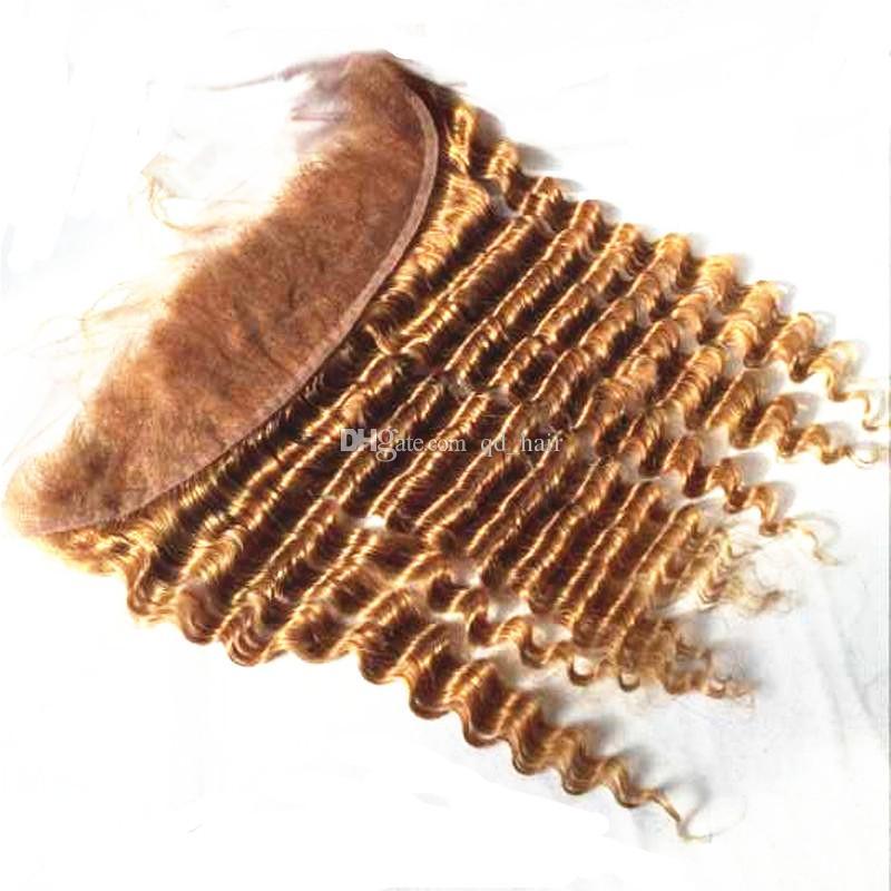 Onda profunda Loira 27 Trama Do Cabelo Humano Com Laço Completo Frontal Loiro Profundo Encaracolado Orelha A Orelha Frontal Com Feixes de cabelo