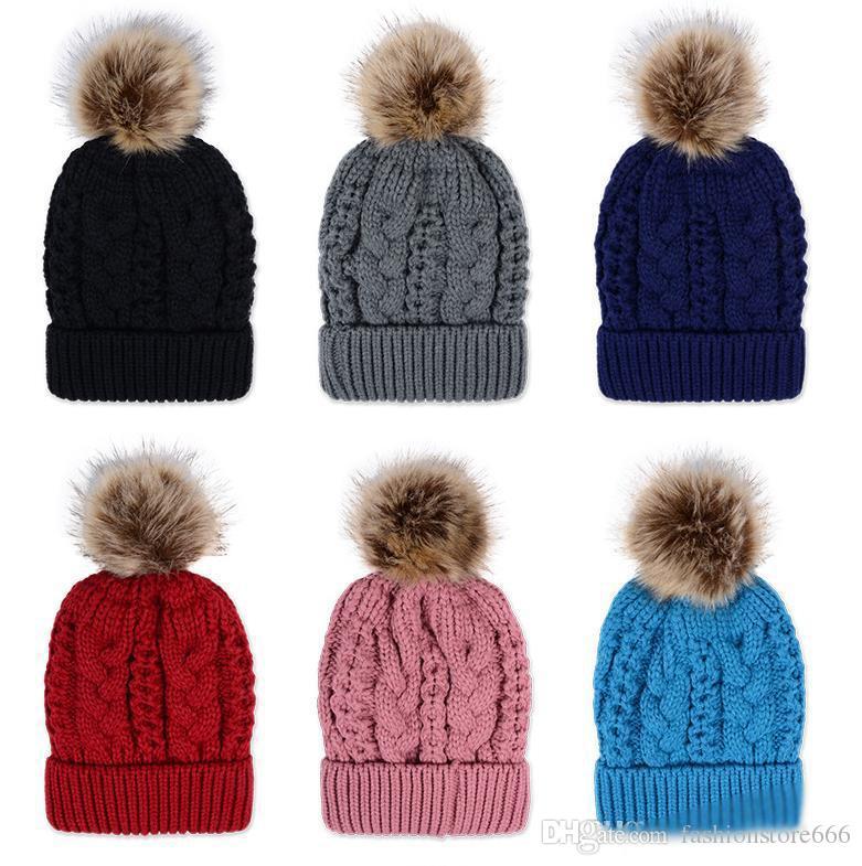 Hot Women S Winter Warm Hand Knit Faux Fur Pom Poms Beanie Hat High Quality  Warm Woolen Knitted Beanie Skully Wool Hat Beanies DHL FREE Crochet Baby  Hats ... c3f0c2defa