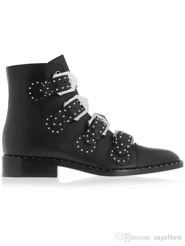 2019 western punk fashionable flat women martin boots black genuine leather rivets buckles motorcycle boots ankle women boots autumn