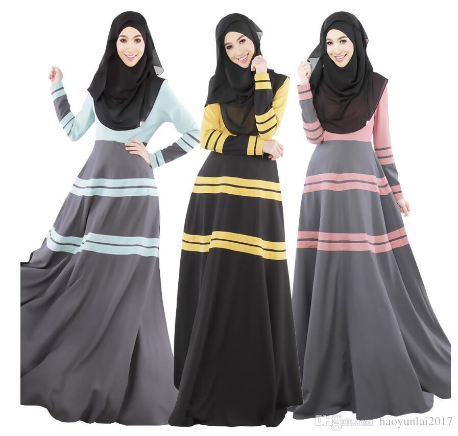 978f880a70187 2019 Abaya Dress Muslim Women Long Sleeve Arab Malaysia Indonesia Party  Cocktail Maxi Kaftan Abaya Jilbab Islamic Vintage Dress From Haoyunlai2017