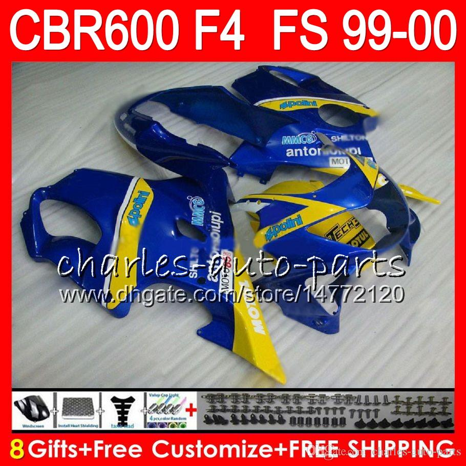 8Gifts Bodywork For HONDA CBR 600F4 CBR600F4 99 00 FS glossy blue 30NO95 CBR 600 F4 99-00 CBR600FS CBR600 F4 1999 2000 Fairing Kit