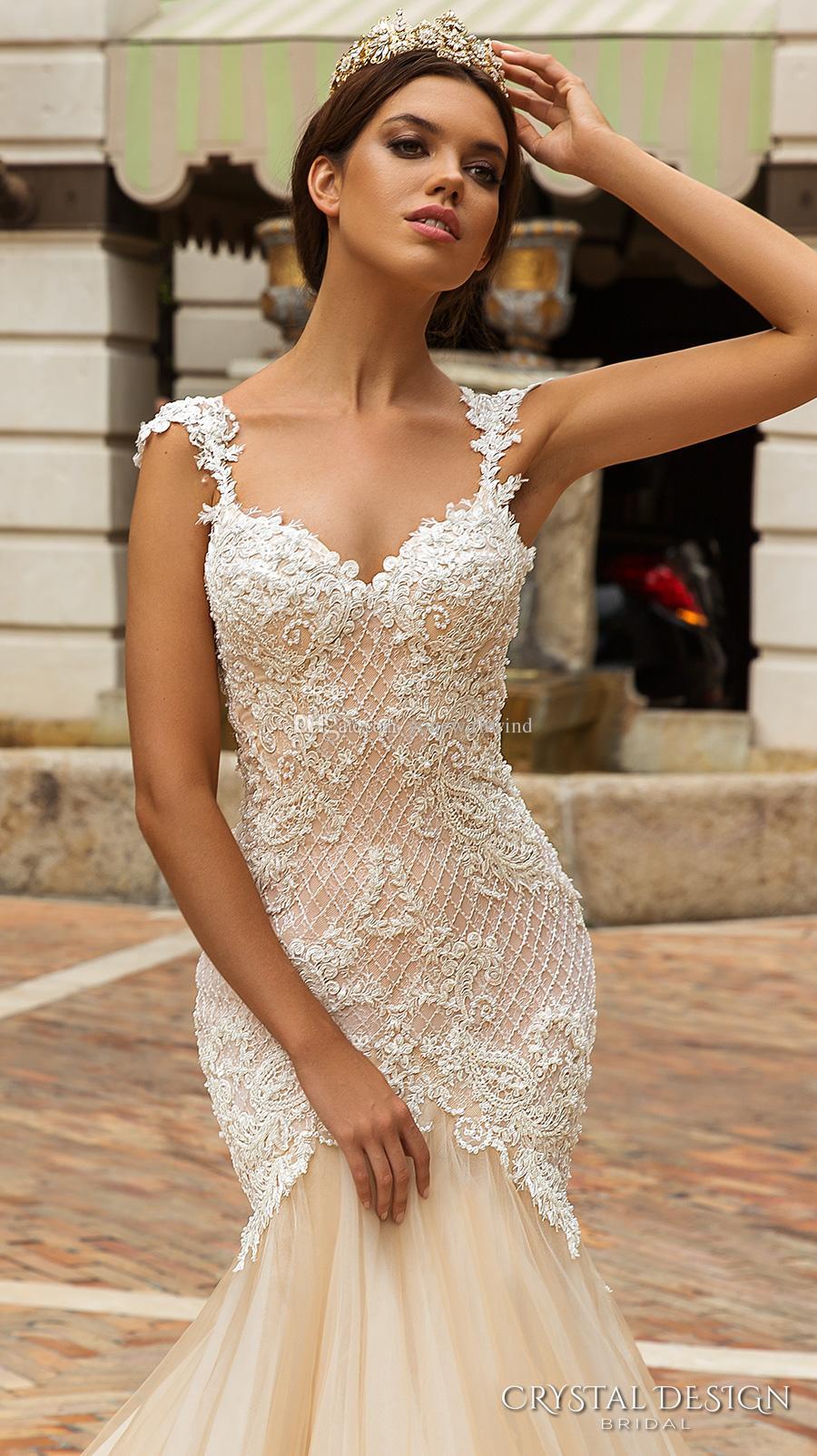 Crystal Embellished Mermaid Tulle Skirt Wedding Dress