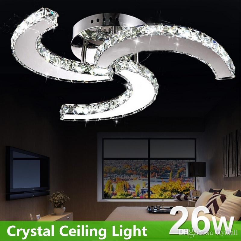 Moderna lámpara de araña de cristal Estilo de ventilador Lámparas de techo Lámparas de techo colgantes llevadas de interior Lámparas de techo Lámparas de techo de sala de estar