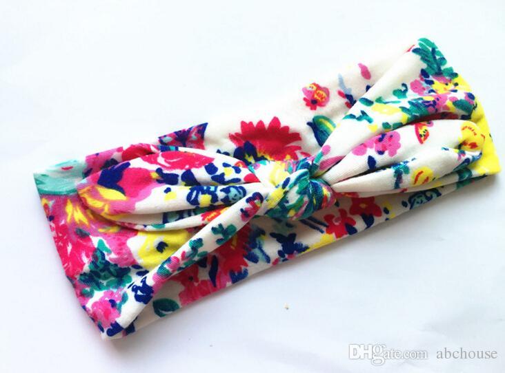Bohemio Diadema de algodón Chica Bebé Bowknot Flor Turbante Girar Envolver la cabeza Nudo trenzado Banda de pelo suave Niños Bandas Bandanas