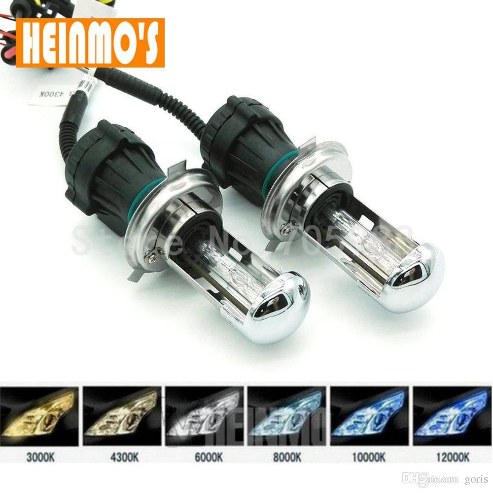 Paar Bi Xenon 35W H4 Hallo Abblendlicht 12V AC 9003 HID Kfz-Scheinwerfer Ersatzbirne H4-3 BiXenon Hi / Lo Strahl Lampe 4300k / 6000 / 8000K 10000k