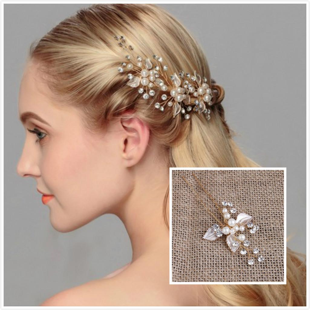 2018 Exquisite Wedding Hair Jewelry Pearls U Pins Bridal ...