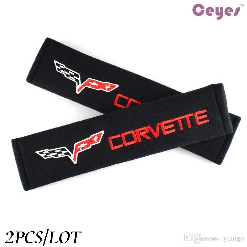 Interior do carro Acessórios Macio Cinto de Segurança Capa para Corvette c3 c5 c6 c7 logotipo do carro crachá cinto de ombro capa almofada de ombro 2 pçs / lote
