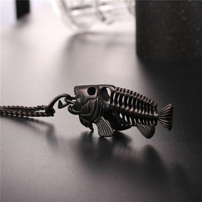 Fancy Fish Skeleton Pendant Necklace 316L in acciaio inossidabile 18K placcato oro reale gioielli di design unico degli uomini
