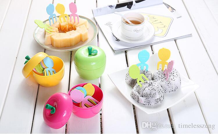 Cute ABS Lovely Fruit Fork 10Pcs/Set With Apple Shape Box Container Kids Cake Dessert Forks Toothpick