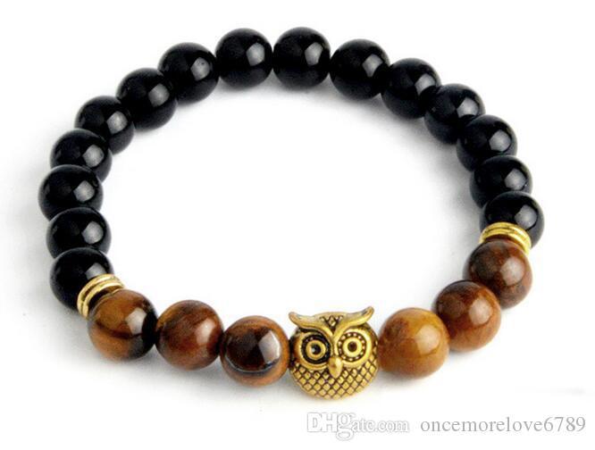 Ordem mista Coruja Buda Contas Pulseiras Pulseiras de Pedra Natural Pulseira de Yoga Jóias Homens Mulheres Frete Grátis