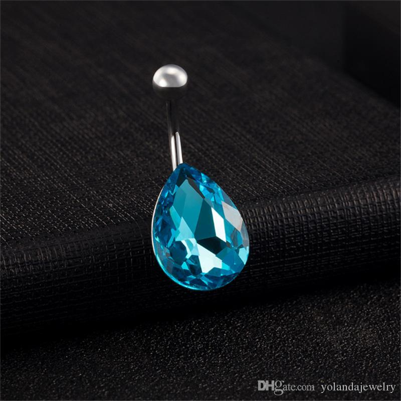 Popular 18K White Gold Plated Blue Clear Zircon Water Drop Navel Medical Steel Anti Allergy Belly Button Navel Ring