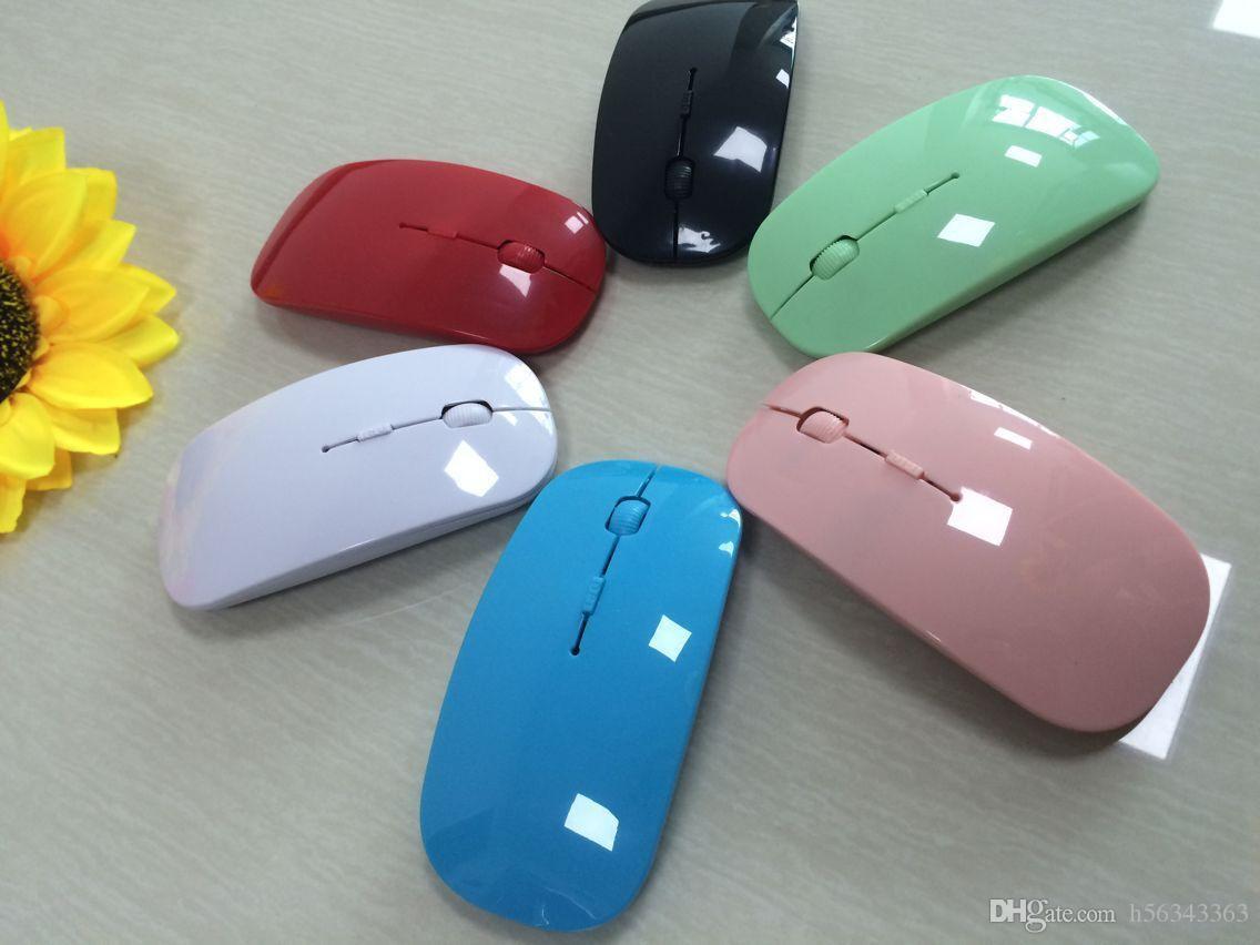 Recién llegado Color del caramelo Ratón inalámbrico ultra delgado y receptor 2.4 GHz USB óptico Colorido Oferta especial ratón para computadora