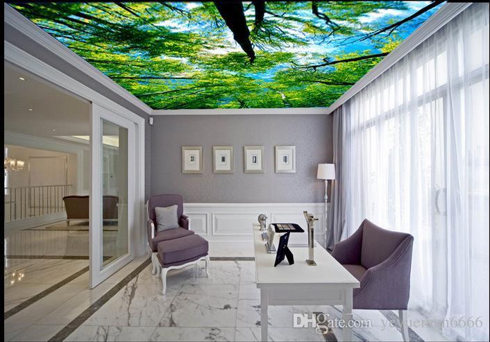 custom luxury 3d ceiling wallpaper Dream forest 3d ceiling wallpapers for living room 3d ceiling wallpaper