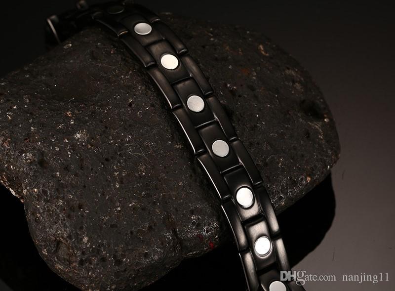 100% Titanium Health Bracelet Bangle For Men Jewelry Magnet Hand Chain Black Plated TBRM-023