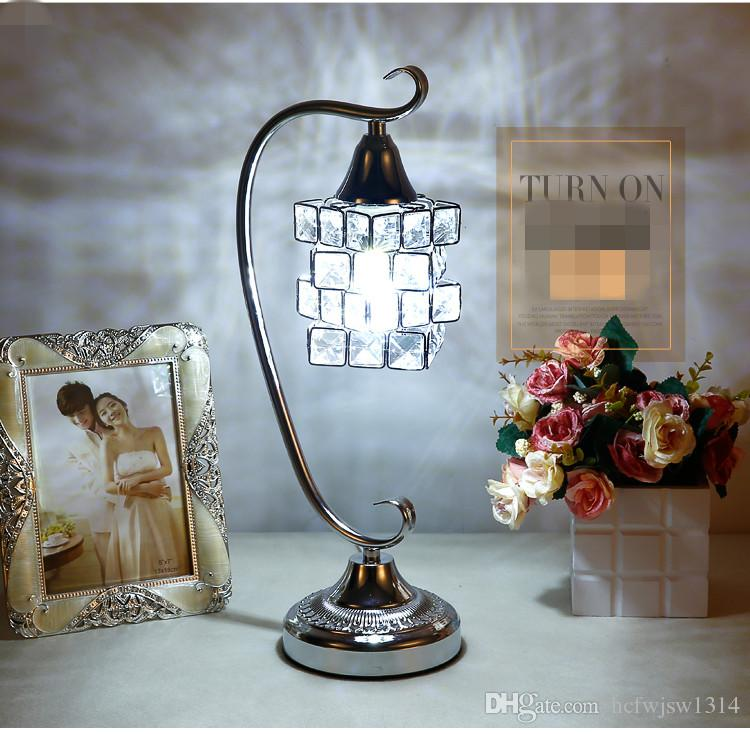 New Fashion Modern Nordic Cloth Lampshade Crystal Table Lamps Creative Decoration Wedding Room Bedroom Living Room Luxury Lamps With Lights & Lighting Led Table Lamps