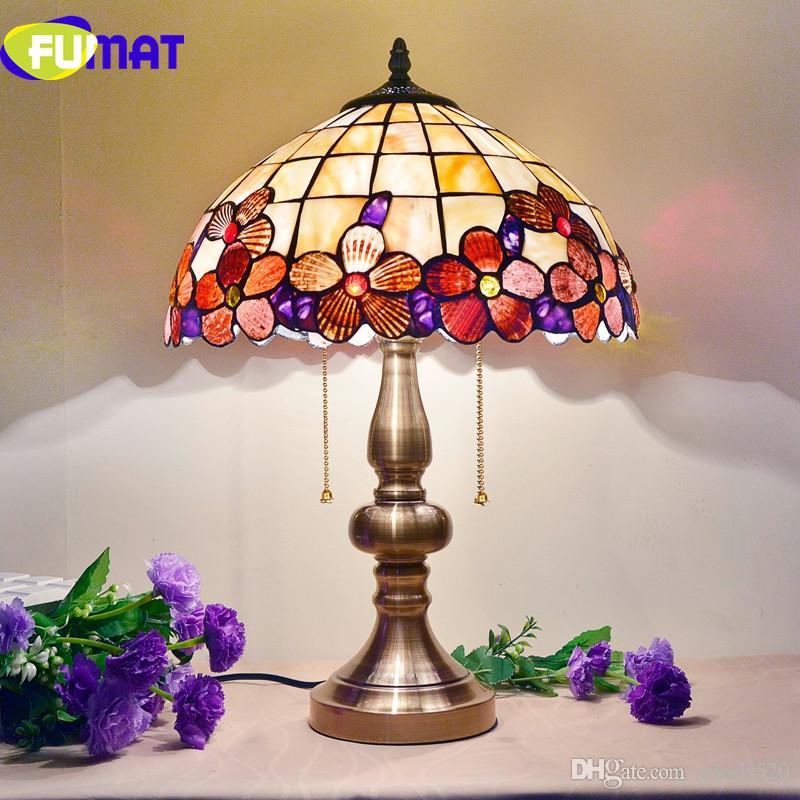 2018 Fumat 14 Inch Peony Shell Table Lamps European Bedroom Bedside