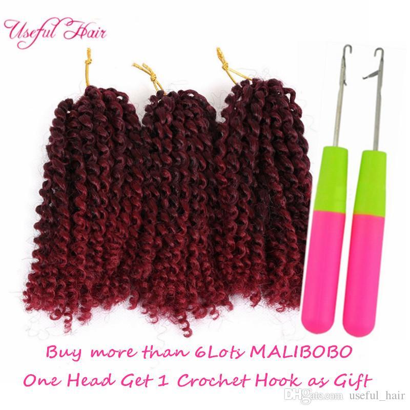 8inch marlybob ombre color mali bob Малибоб синтетические наращивание волос 3шт / комплект вязаных косичек для волос для чернокожих женщин Kinky Curly marlybob