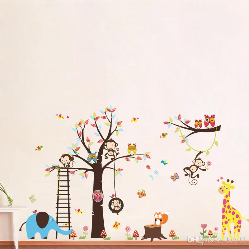 Forest Animal Monkey Owls Tree Wall Sticker For kids room Vinyl Elephant Wall Decal Bedroom Home Decor Mural