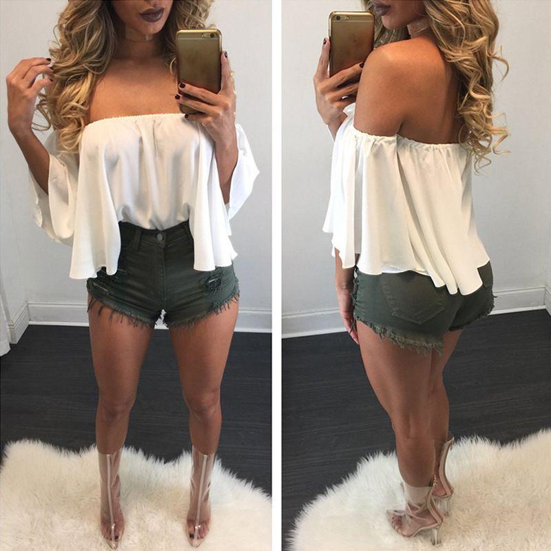 2017 New Short Sale Chiffon Alças Boat Neck Verão Camisetas Ruffle luva longa soltas Casual Mulheres Tops Sexy Lady roupa