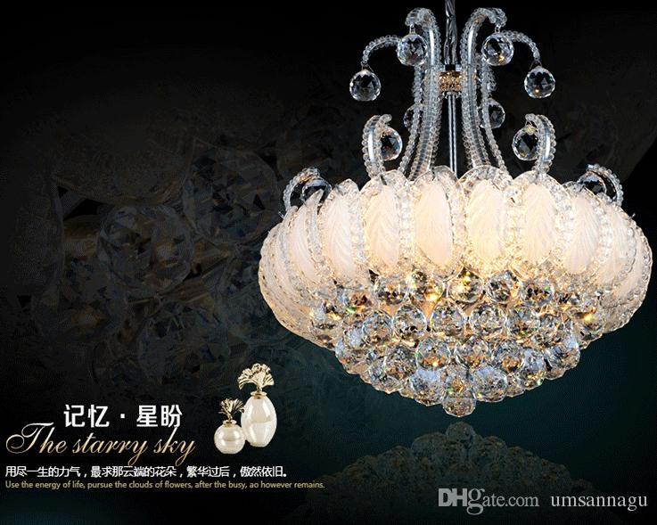 Lampadario di cristallo argento dorato Apparecchio di illuminazione Lampadari moderni Lampade Lustri Lampade Illuminazione interna domestica americana europea AC90V-260V