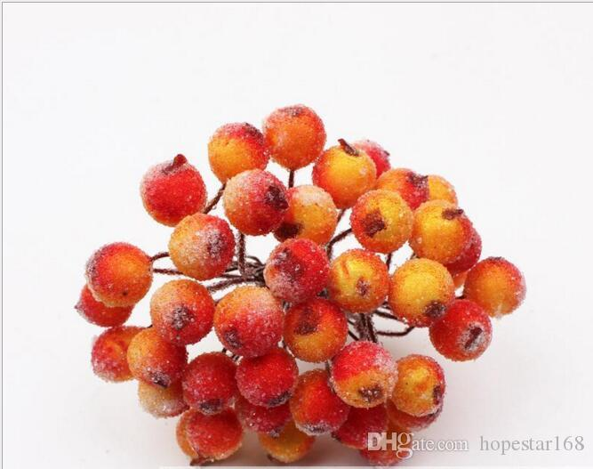 40 Heads Mini Fake Fruit Glass Berries Artificial Pomegranate Red Cherry Bouquet Stamen Christmas Decorative Double Heads
