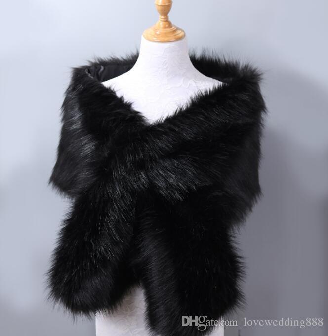 혼합 된가 겨울 2019 최신 긴 여우 모피 모피 신부 이브닝 드레스 두꺼운 목도리 망토 스카프 스카프 여성