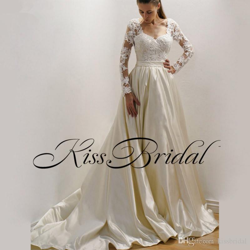 Koronkowa Satyna Długie Rękawy Suknie Ślubne Illusion Back Sweep Pociąg Vintage Proste Suknie Ślubne Recepcja Wesele Suknia
