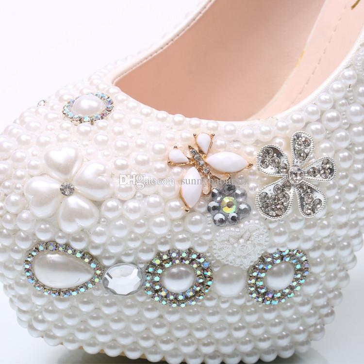 Plus Size White Royal Gem Tassel Cinderella Shoes Hand-made Prom Evening High Heels Pearls Rhinestones New Bridal Bridesmaid Wedding Shoes