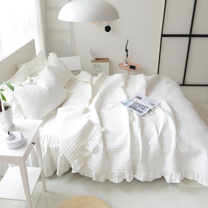 weiße und graue Farbe Korea-Export ummer Herbstsaisonsteppsteppdecke mit Embroridery Normallackentwürfen Königingröße drei Stücke