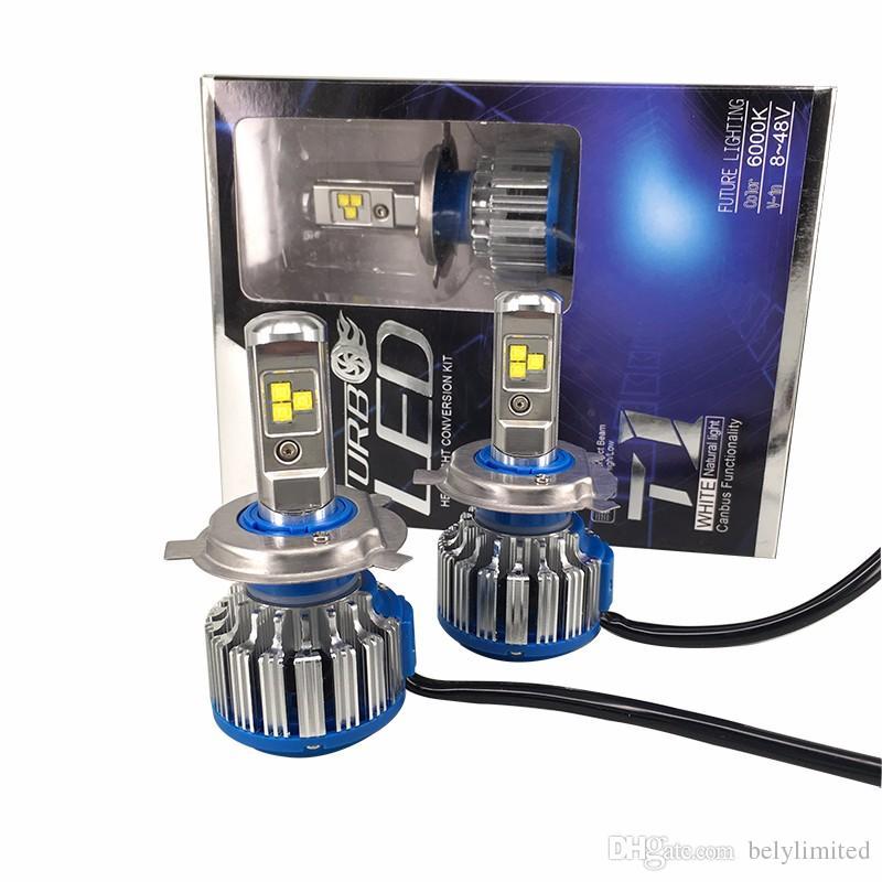 Доставка по DHL T1 фар автомобиля H7 H4 LED H8/H11 HB3/9005 HB4/9006 H1 H3 9012 H13 9004 9007 70 Вт 7000lm авто лампы фары 6000 К свет