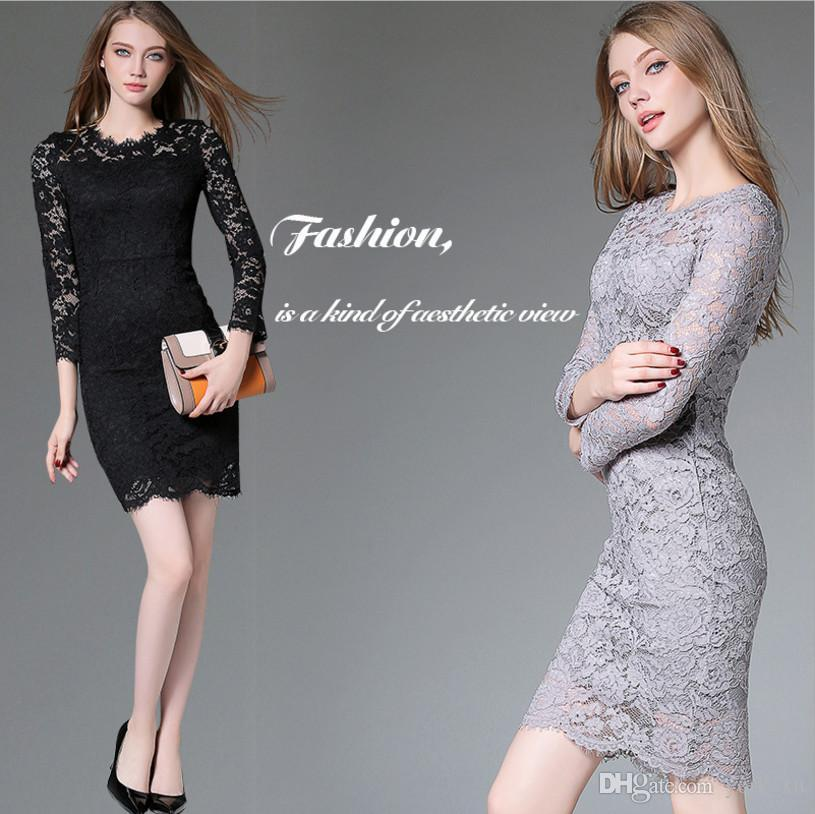 fe9aacee87c3 Women's Retro Floral Lace Long Sleeve Slim Evening Cocktail Mini Dress  Classicial Flroal Lace Design Suit for Evening Party Business ou