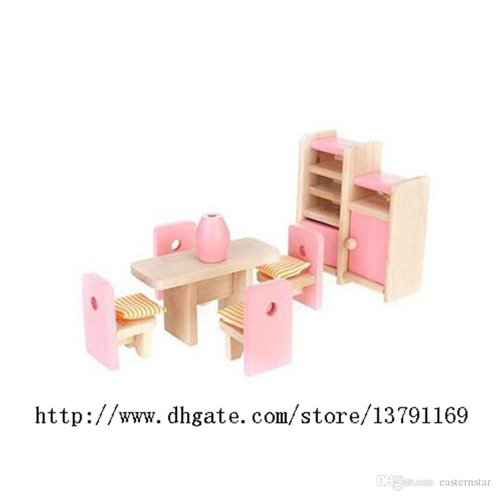 Wooden Furniture Model Playset Pink Miniature Dining Room Early Educational  Toy for Kid Child Baby Play