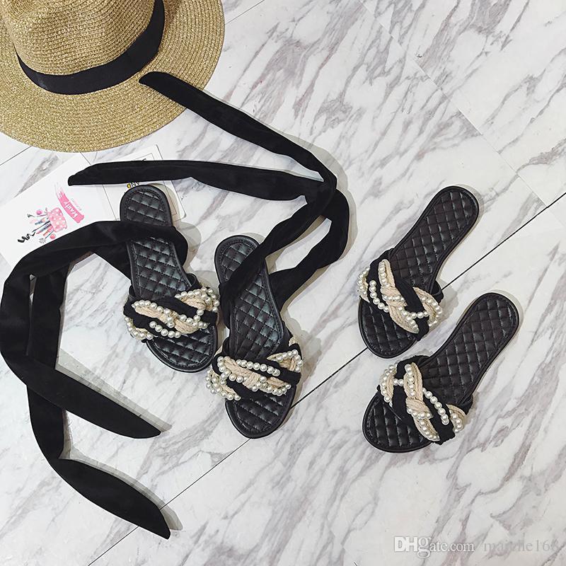 Hot moda bowknot fita com tiras no tornozelo pérola torção tecer fundo macio sandálias flat chinelos mulheres