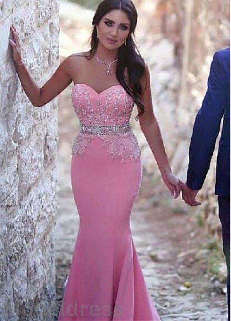 2017 Mermaid Prom Dresses Arabic Sweetheart Sleeveless Appliques ...