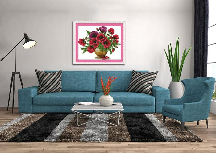 Colorful Poppy flower vase home decor paintings , Handmade Cross Stitch Embroidery Needlework sets counted print on canvas DMC 14CT /11CT