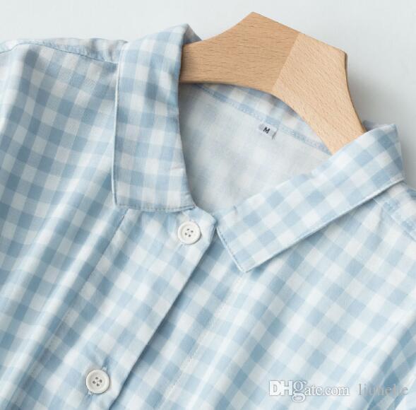 Robe double pyjama à col montant et à manches longues en maille de coton à double treillis en été cardigan en coton été printemps et en été