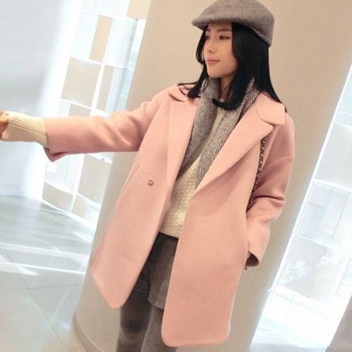 f0bed2946 New Cute Pink Wool Blend Coat High Quality Women Winter Outerwear Design  Oversized Blazer Jacket Warm Long Coat MGG1105