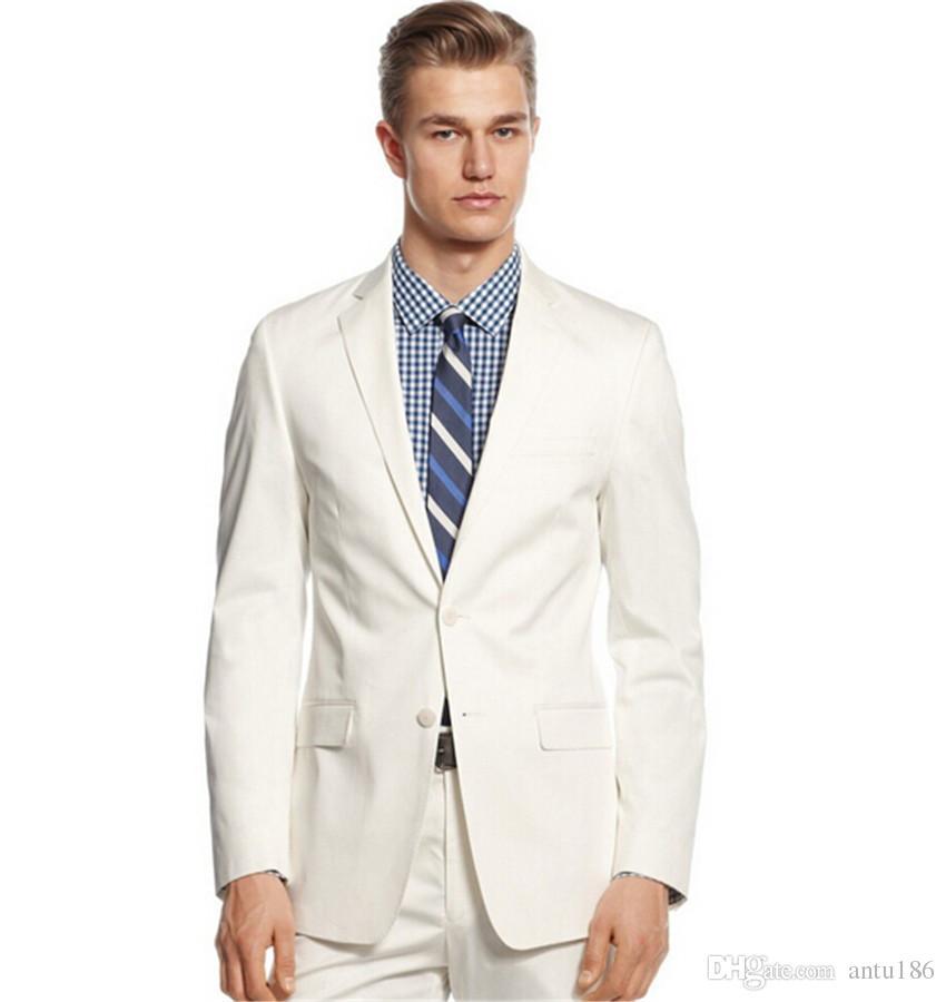 Custom made Male wedding suit men's party two piece suit design best man wedding white suits jacket+pants