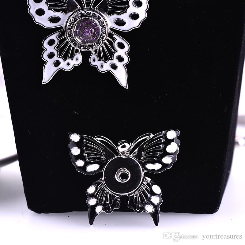 Бабочка 18 мм кнопка имбирь Оснастки кнопки DIY взаимозаменяемые для женщин заявление ожерелье ювелирные изделия 2017 Апрель стиль