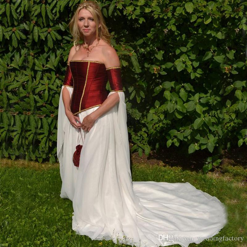 Discount Medieval Wedding Dresses Burgundy Dark Red And White A Line ...