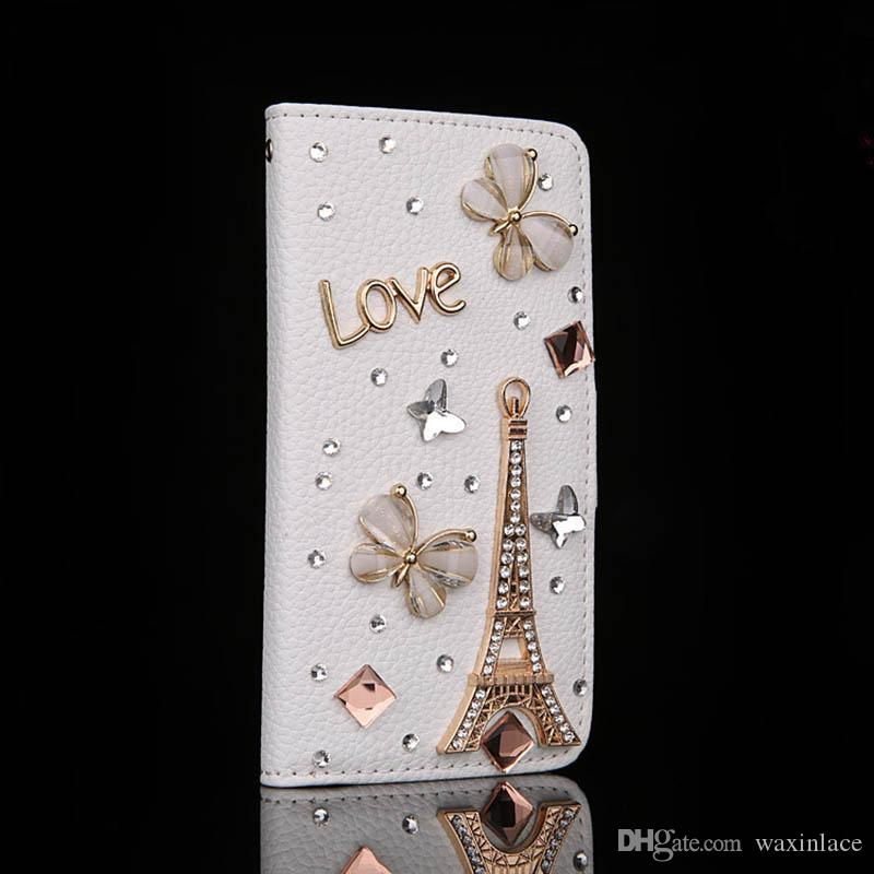 Bling Rhinestones Shiny Eiffel Tower White Flip Leather Phone Case Cover for Iphone 5G/5S 6G/6S For Samsung Galaxy Note5 Bag Case