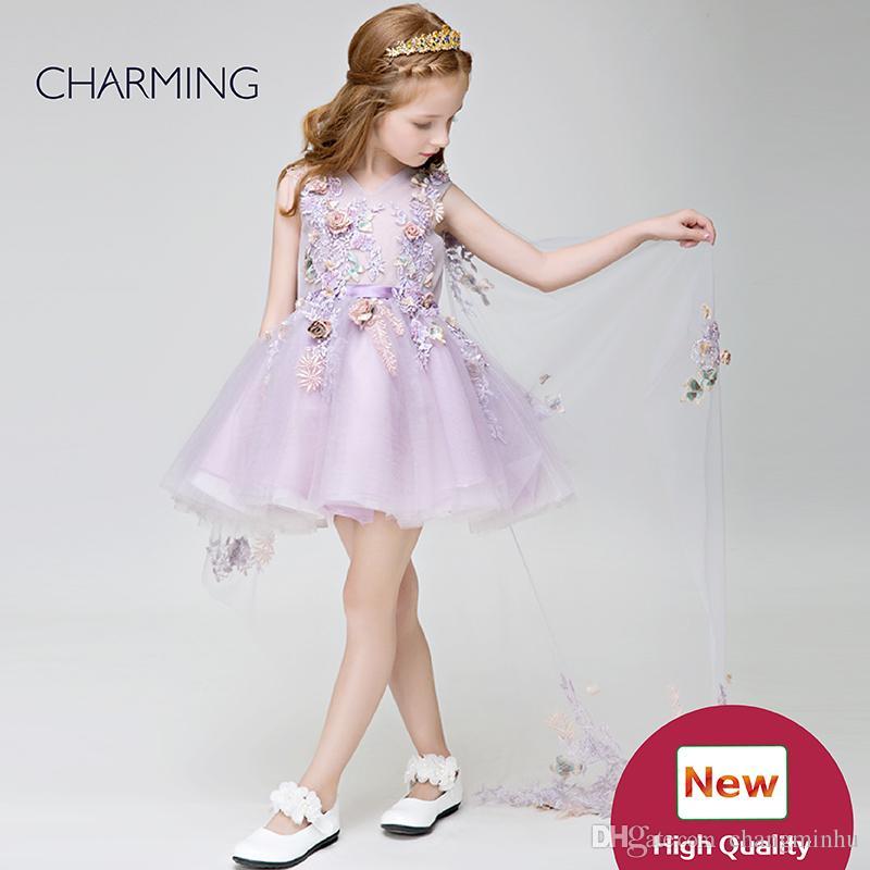 f339d8bb180 Flower Girl Dresses Wedding Lavender High Quality Flower Girl Tulle Dress  Designer Formal Dresses Prom Dresses For Little Girls Tutu Dress Silver  Flower ...