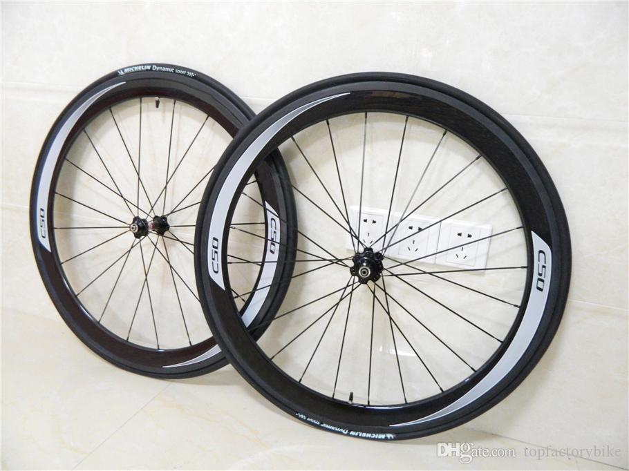 White logo 700c 50mm CARROWTER C50 carbon road bike wheels with 23mm width 6 kinds of hubs