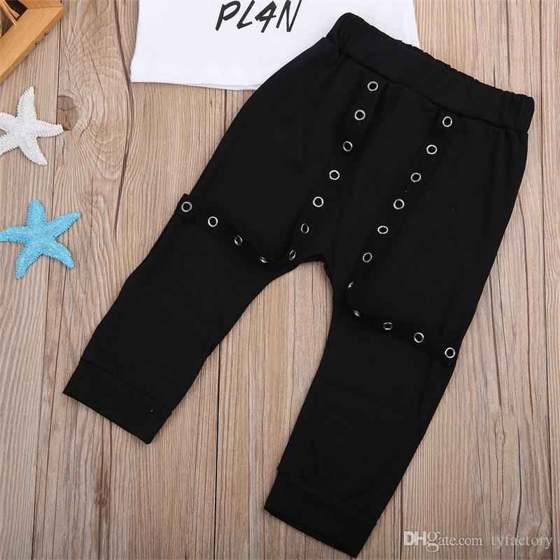 Neonato Neonato Neonata Vestiti della ragazza Top + Pantaloni Tuta Completa Set Cotone FalseT-piece T-shirt American Street Style Abbigliamento