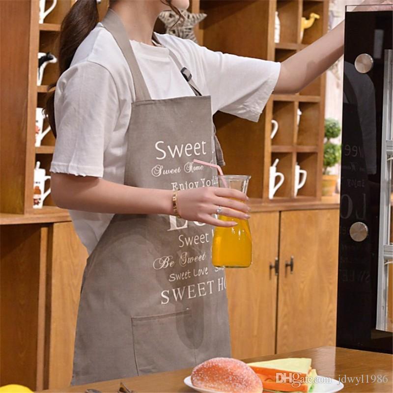 Hochwertige Leinwand Küche Schürze Korean Kellner Schürzen Mit Taschen Restaurant Home Kochen Werkzeug Shop Kunst Arbeit Schürze
