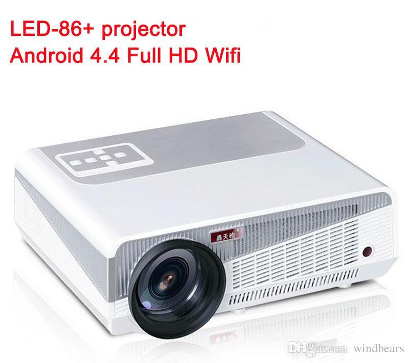 Android 4.4.2 Full HD LED Diurno LCD 3D Wifi Projetor Inteligente 5500 lumens projetor Beamer LED-86 + Lâmpada cinema negócio melhor do que LED-86